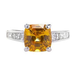 JB Star 4.41 Carat Yellow Orange Sapphire Diamond Platinum Engagement Ring