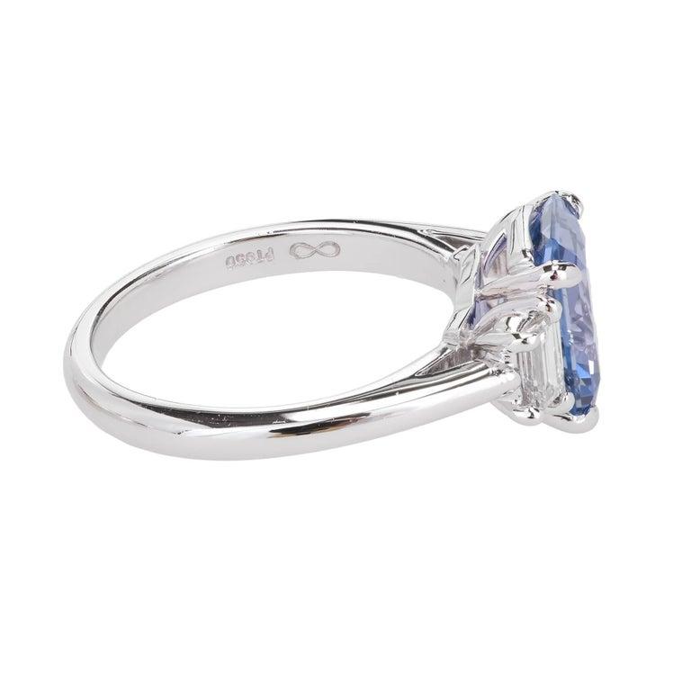 Peter Suchy 2.56 Carat Sapphire Diamond Platinum Three-Stone Engagement Ring   For Sale 1