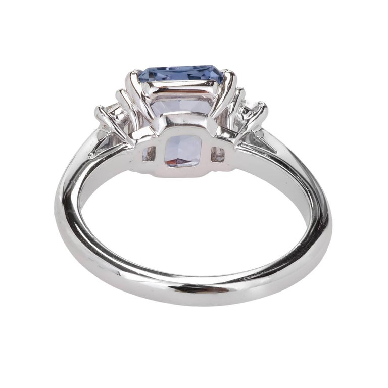 Peter Suchy 2.56 Carat Sapphire Diamond Platinum Three-Stone Engagement Ring   For Sale 2