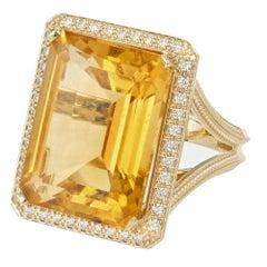 21.00 Carat Emerald Cut Citrine Diamond Halo Gold Cocktail Ring