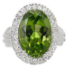 9.17 Carat Oval Peridot Diamond Halo Gold Cocktail Ring