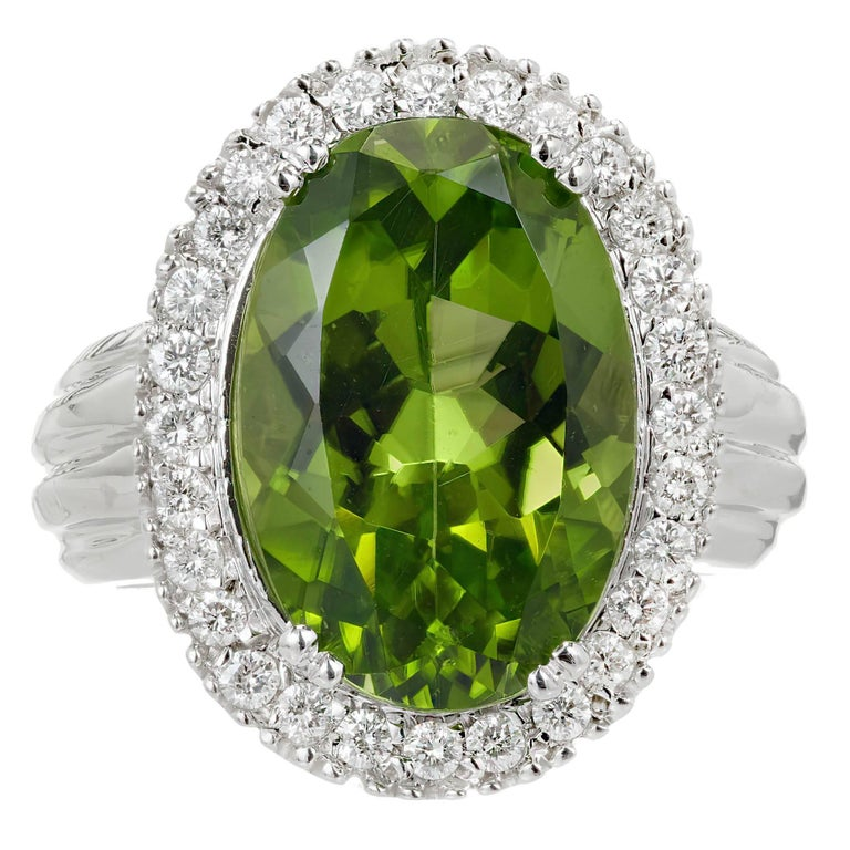 9.17 Carat Oval Peridot Diamond Halo Gold Cocktail Ring