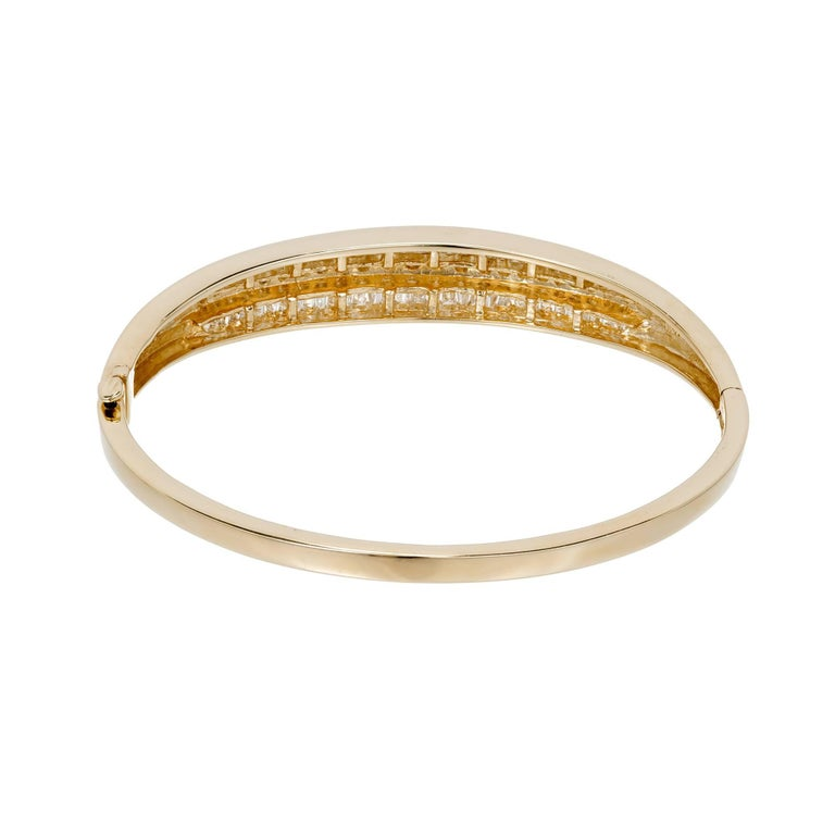1.66 Carat Baguette Round Diamond Hinged Gold Bangle Bracelet For Sale 2