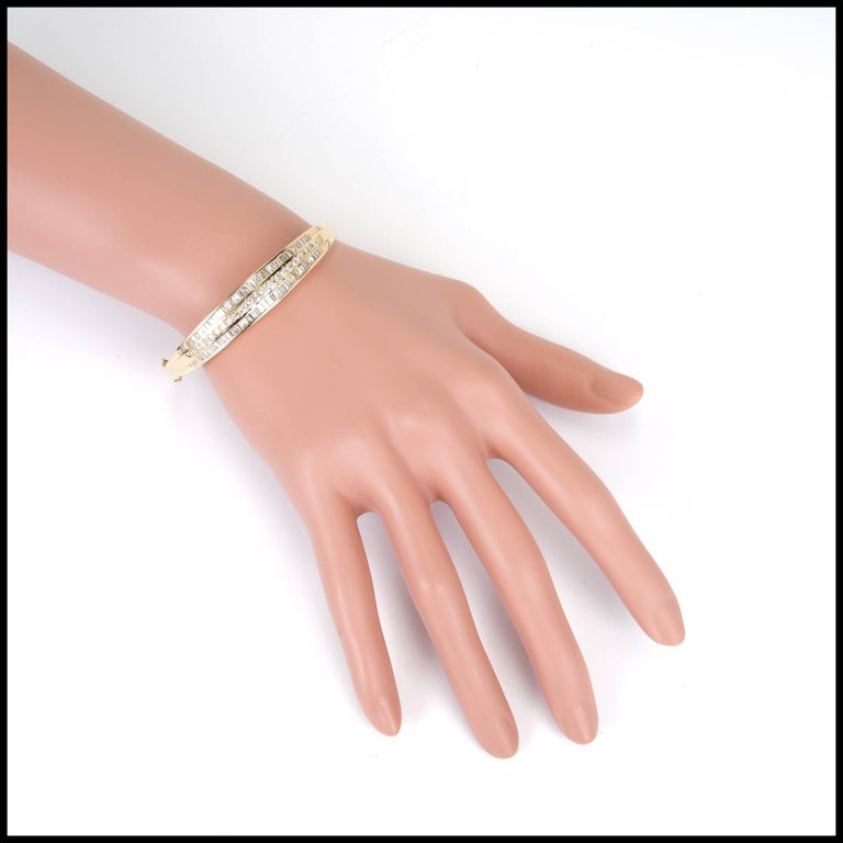 1.66 Carat Baguette Round Diamond Hinged Gold Bangle Bracelet For Sale 3