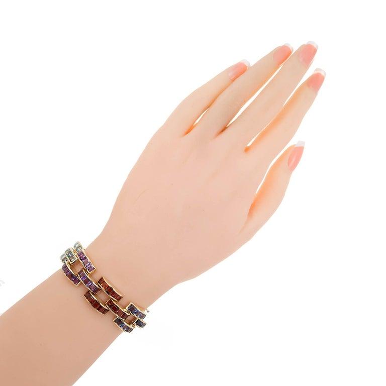 Women's Tourmaline Topaz Amethyst Peridot Citrine Lolite Gold Link Bracelet For Sale