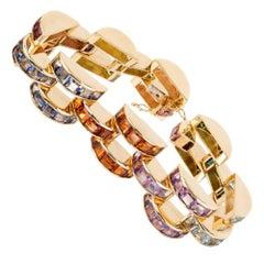 Tourmaline Topaz Amethyst Peridot Citrine Lolite Gold Link Bracelet