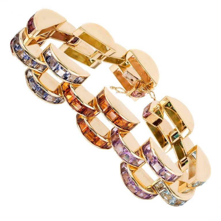 Tourmaline Topaz Amethyst Peridot Citrine Lolite Gold Link Bracelet For Sale