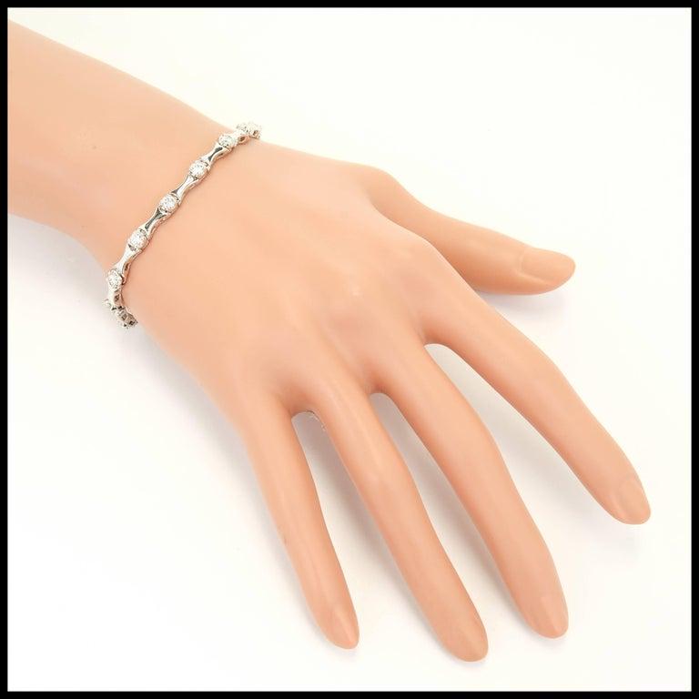 1.60 Carat Diamond Hinged Link Gold Bracelet For Sale 1