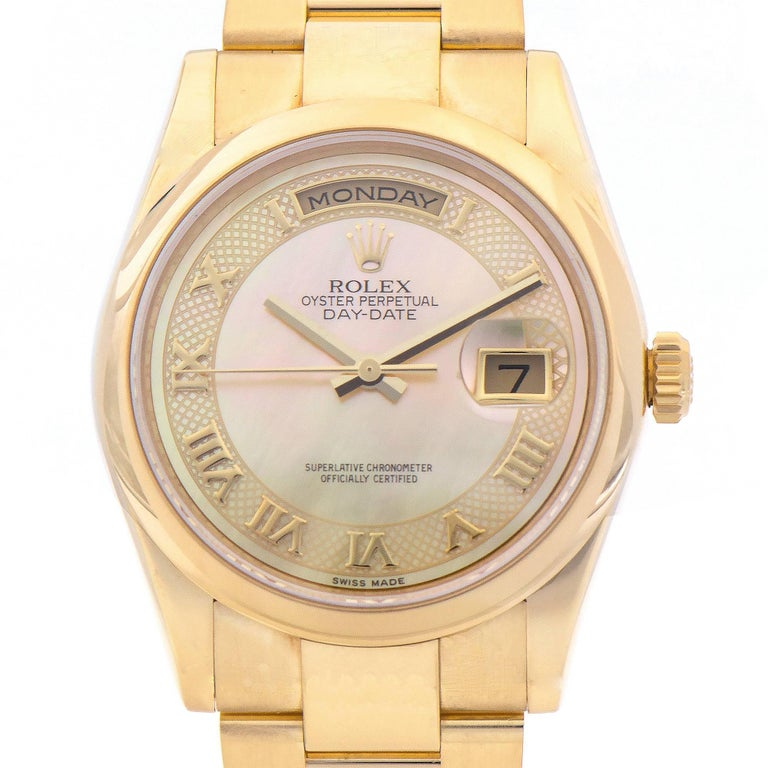 Rolex Yellow Gold Day-Date President automatic Wristwatch Ref 118208 For Sale