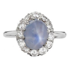GIA Certified 3.00 Carat Oval Star Sapphire Diamond Gold Halo Engagement Ring