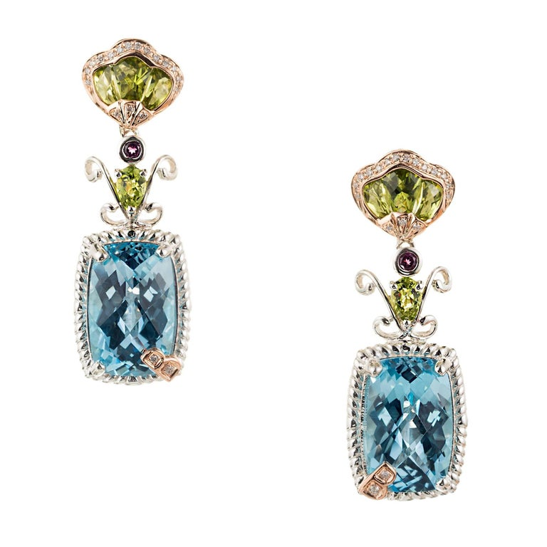 Bellarri Peridot Topaz Garnet Diamond Silver Rose Gold Dangle Earrings