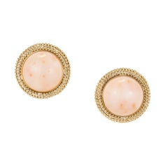 Midcentury Pink Dome Coral Gold Clip Post Earrings