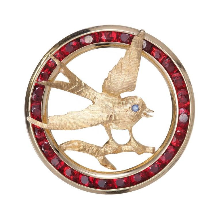 Garnet Sapphire Gold Swallow Bird Brooche