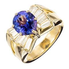 3.38 Carat Purple Blue Tanzanite Diamond Yellow Gold Cocktail Ring