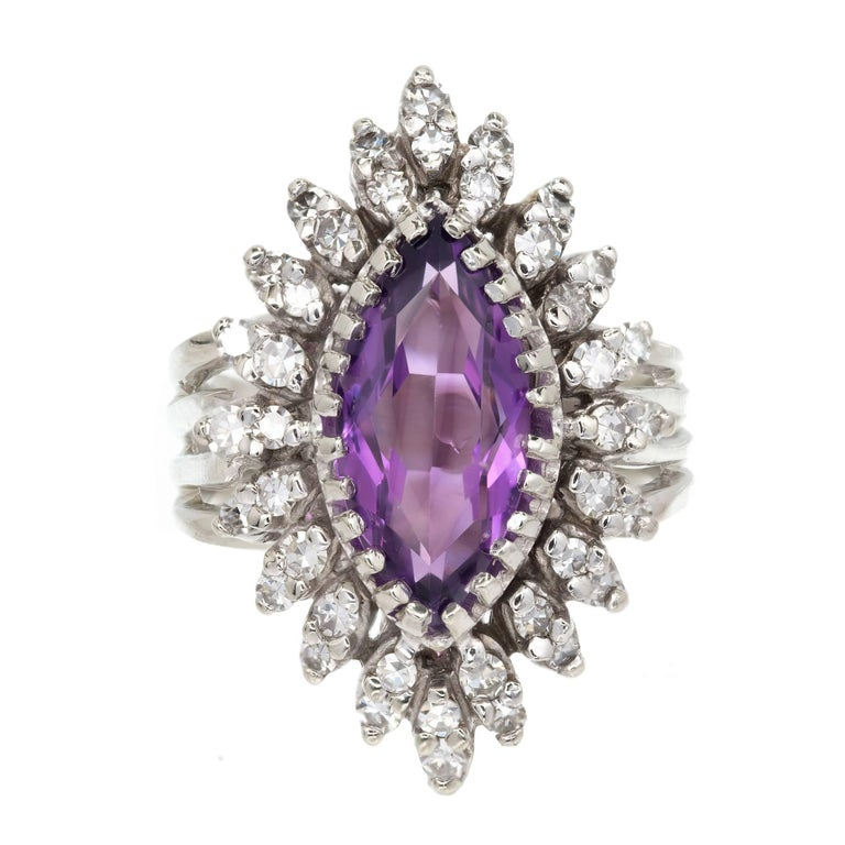 Marquise Amethyst Diamond Halo Gold Cocktail Ring