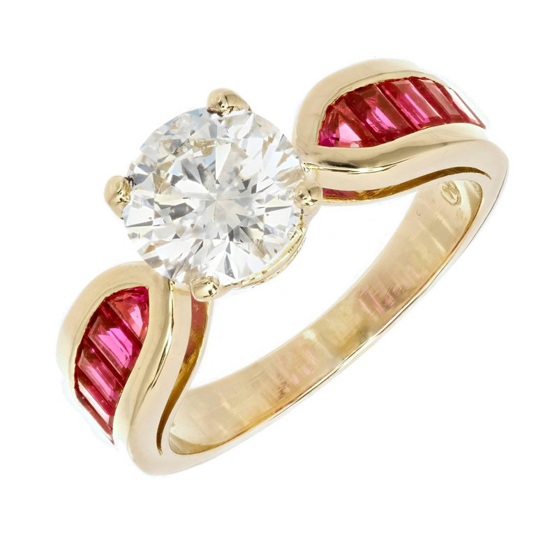 Peter Suchy GIA Certified 1.59 Carat Diamond Ruby Gold Engagement Ring