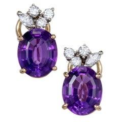 5.50 Carat Oval Amethyst Diamond Gold Earrings