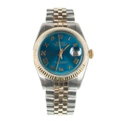 Rolex Yellow Gold Stainless Steel Datejust Blue Refinished Dial Wristwatch