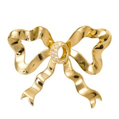 Cellino White Diamond Bow Yellow Gold Brooche