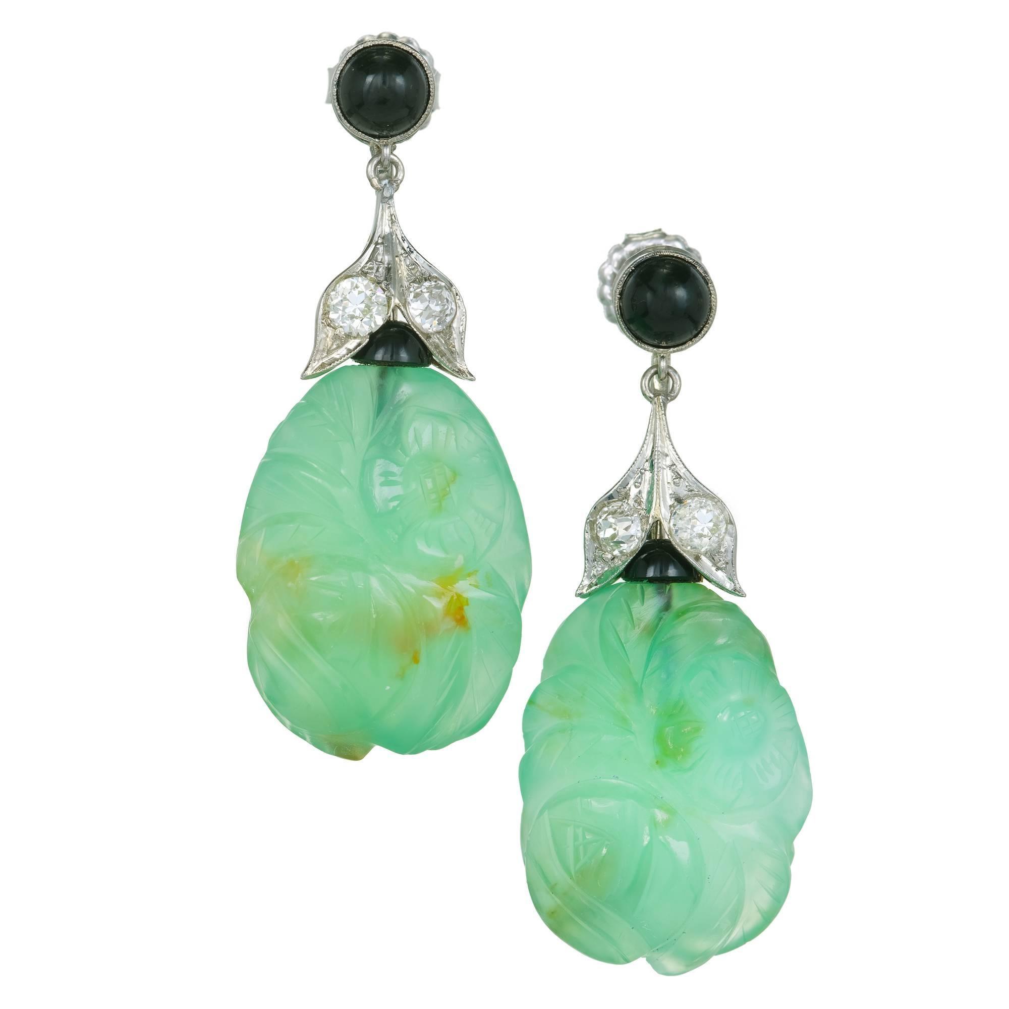 Art Deco Chalcedony Black Onyx Diamond Gold Dangle Earrings