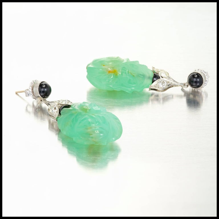 Art Deco Chalcedony Black Onyx Diamond Gold Dangle Earrings In Good Condition For Sale In Stamford, CT