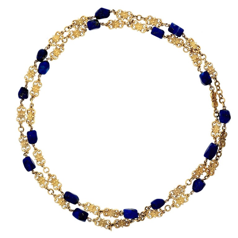 GIA Certified Lapis Long Chain Gold Necklace