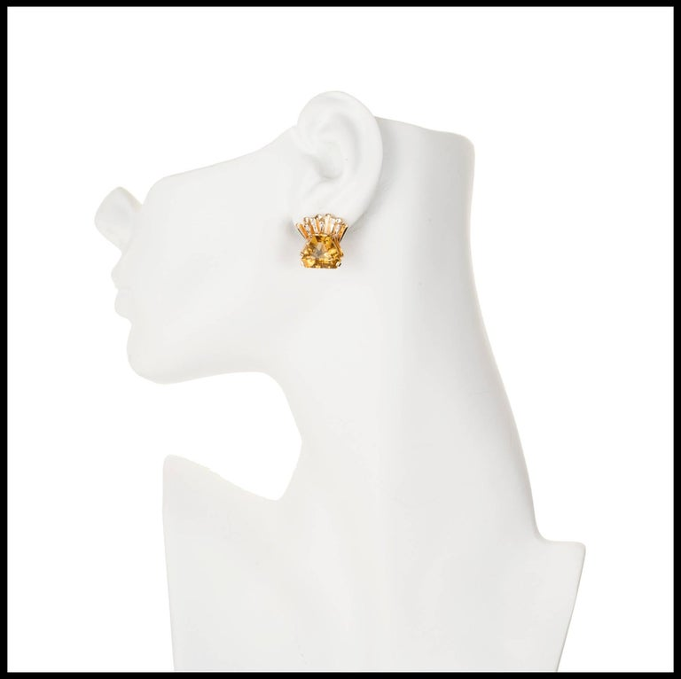 1940s Hexagon Citrine Diamond Gold Clip Post Earrings In Good Condition For Sale In Stamford, CT