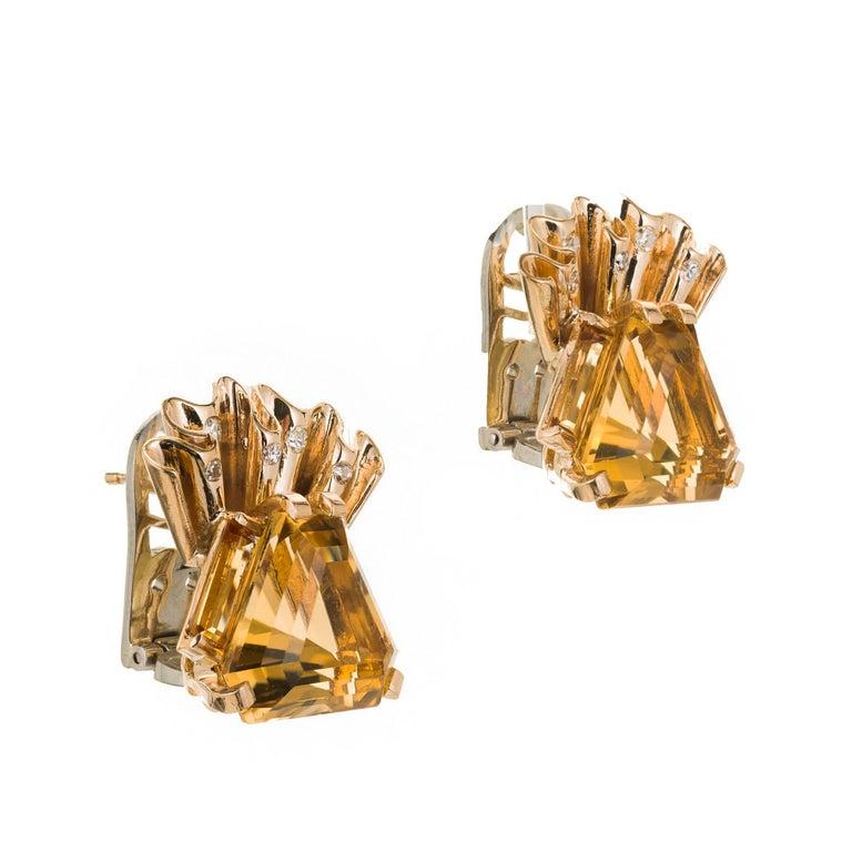 1940s Hexagon Citrine Diamond Gold Clip Post Earrings For Sale 1