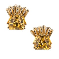 1940s Hexagon Citrine Diamond Gold Clip Post Earrings