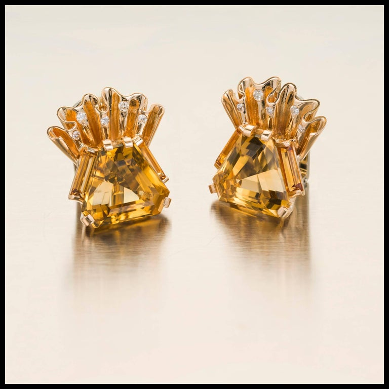 Vintage Retro 1940s hexagon Citrine Diamond earrings with Diamond accents in 14k yellow gold with white gold clips.  2 hexagon yellow Citrines, approx. total weight 8.50cts, 14 x 12mm 10 round Diamonds, approx. total weight .14cts, H, SI1 14k yellow