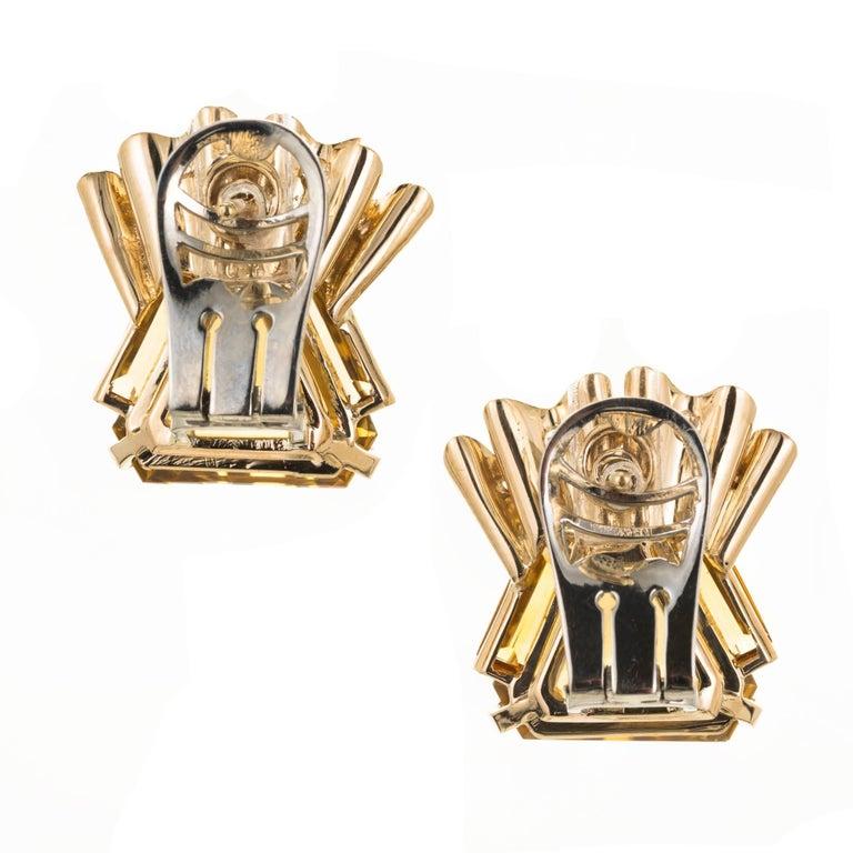 Women's 1940s Hexagon Citrine Diamond Gold Clip Post Earrings For Sale