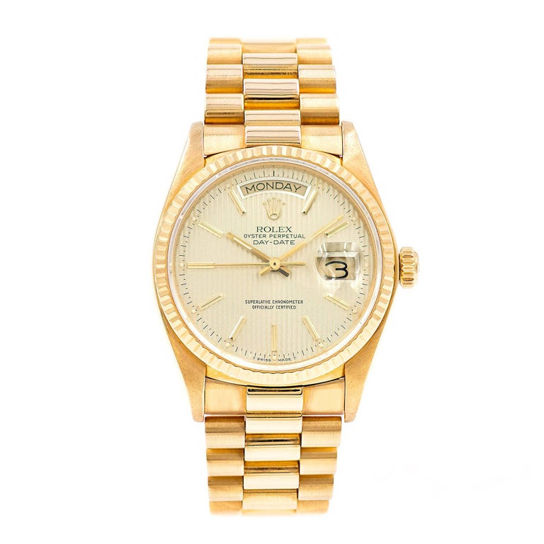 Rolex Yellow Gold President Champagne Tapestry Dial Automatic Wristwatch
