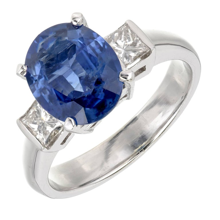 GIA Certified 3.04 Carat Oval Sapphire Diamond Three-Stone Gold Engagement Ring