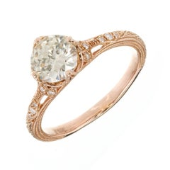 Peter Suchy GIA Certified .98 Carat Light Yellow Diamond Gold Engagement Ring