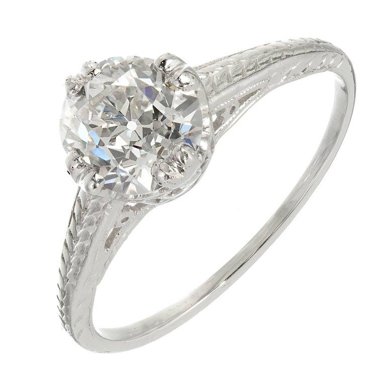 GIA Certified Diamond Filigree Victorian Solitaire Platinum Engagement Ring