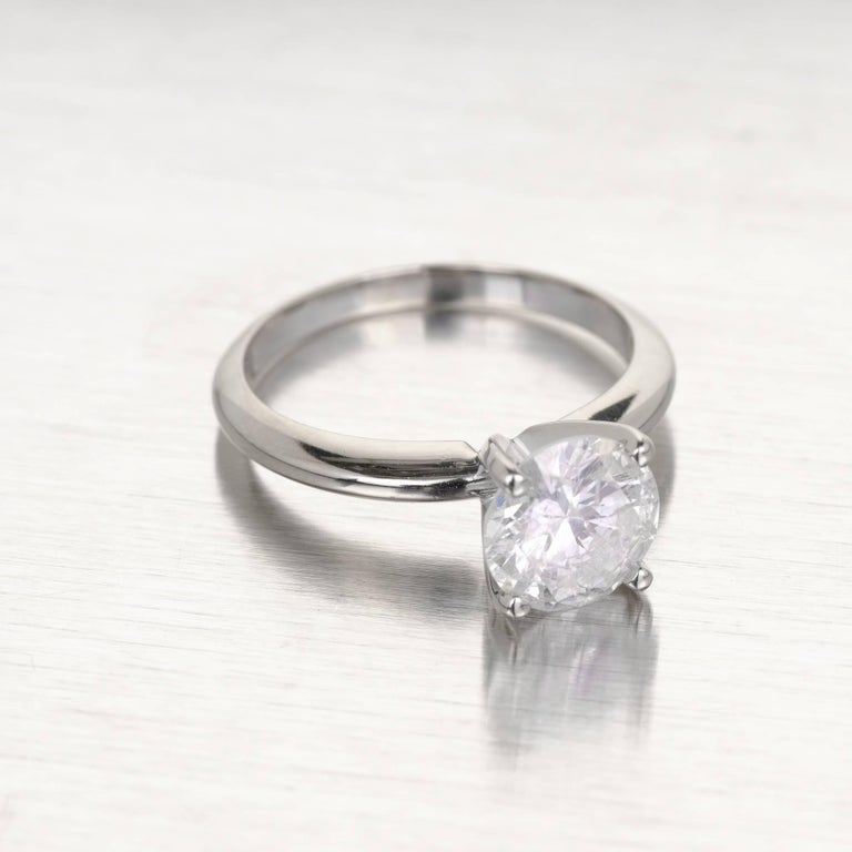 EGL Certified 1.77 Carat Diamond Gold Solitaire Engagement Ring In Good Condition For Sale In Stamford, CT
