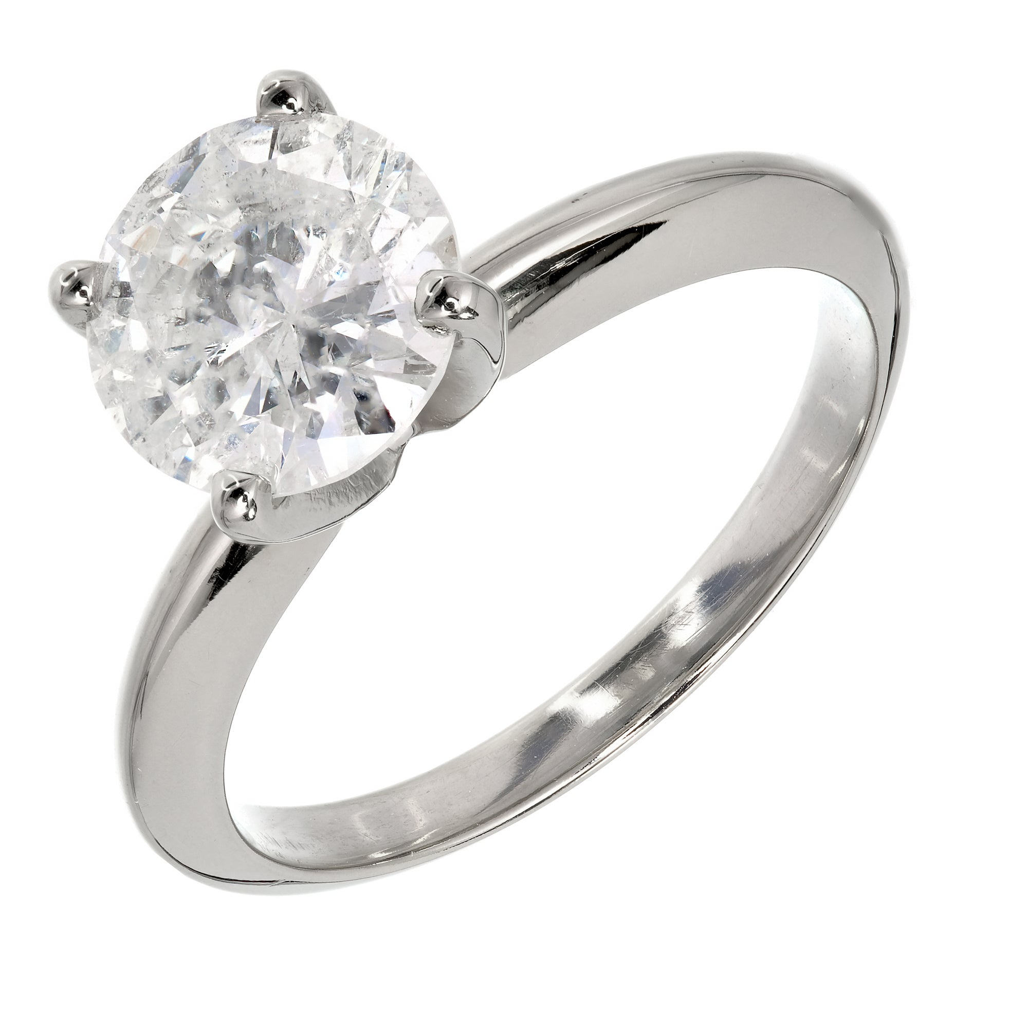 EGL Certified 1.77 Carat Diamond Gold Solitaire Engagement Ring