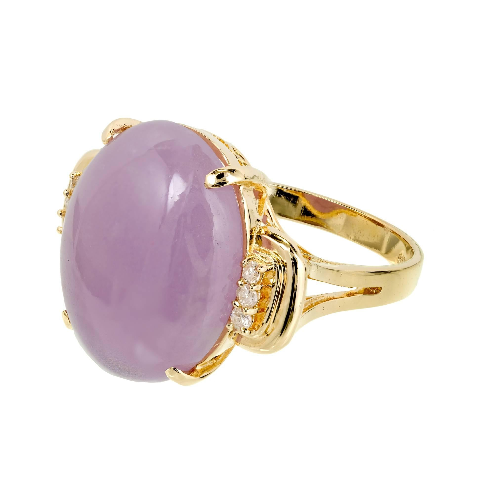 GIA Certified Natural Purple Jadeite Jade Diamond Gold Cocktail Ring