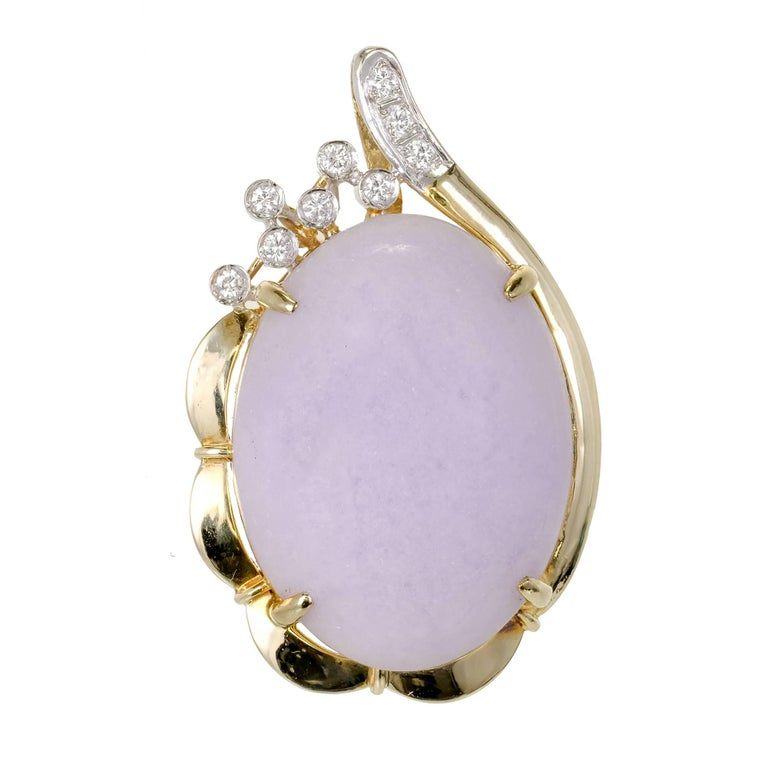 GIA Certified Natural Oval Jadeite Jade Purple Gold Diamond Pendant