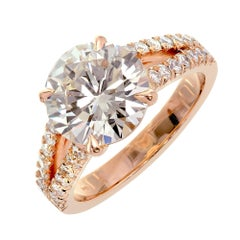 Peter Suchy GIA Certified 3.01 Carat Diamond Rose Gold Engagement Ring