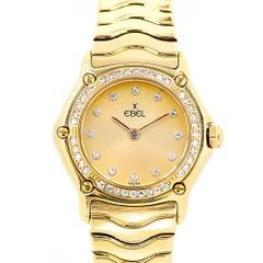 Ebel Ladies Yellow Gold Diamond Wave Quartz Wristwatch