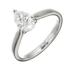 Peter Suchy .93 Carat Pear Shape Diamond Engagement Ring Platinum GIA Certified