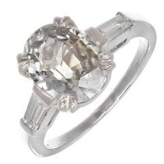 Peter Suchy 3.13 Carat Natural Oval Sapphire Diamond Platinum Engagement Ring