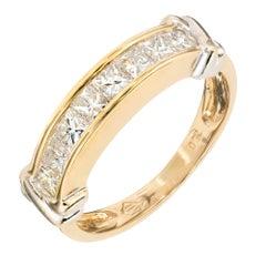 Princess Cut Channel Set Diamond Gold Wedding Band