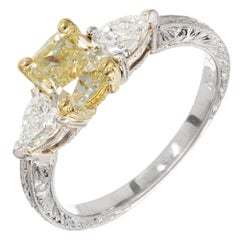 GIA Certified 1.26 Carat Yellow Sapphire Diamond Platinum Gold Engagement Ring