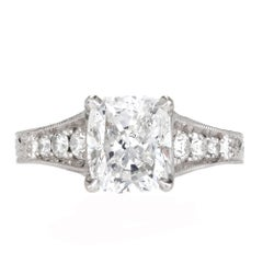 Peter Suchy GIA Certified 2.02 Carat Diamond Engraved Platinum Engagement Ring
