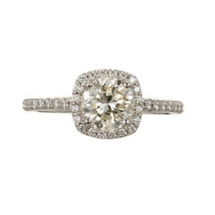 Peter Suchy 1.18 Carat Cushion Diamond Halo Gold Engagement Ring