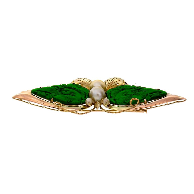 Women's GIA Certified Carved Omphacite Jade Pearl Gold Butterfly Brooch For Sale