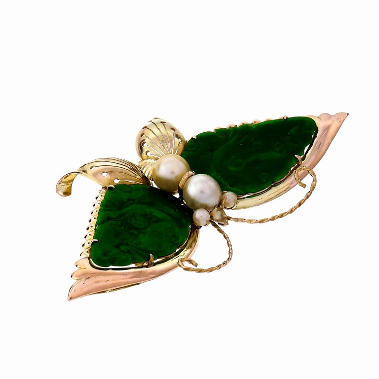 Vintage 1940 handmade Butterfly brooch in 14k yellow and rose gold with cultured Pearl accents and hand carved bright green Omphacite Jade wings.   2 pierced carved Omphacite Jade, 34.13 x 20.26mm, GIA certificate #6183636103 4 Japanese Akoya