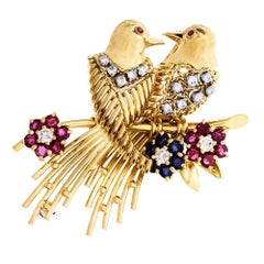 Diamond Ruby Sapphire Gold Love Birds Brooch
